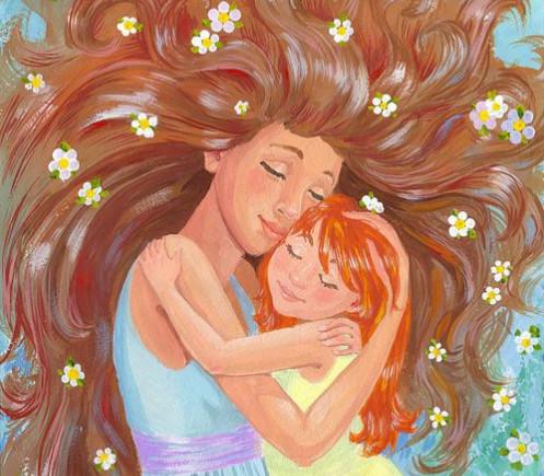 день матери, мама и дочь, картина