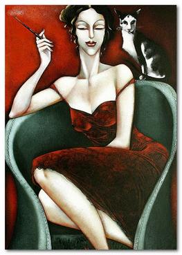 женщина и кошка